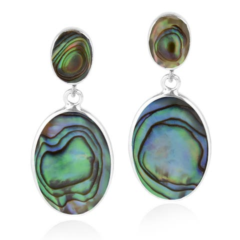 Classy Double Oval Inlay Sterling Silver Drop Post Earrings (Thailand)