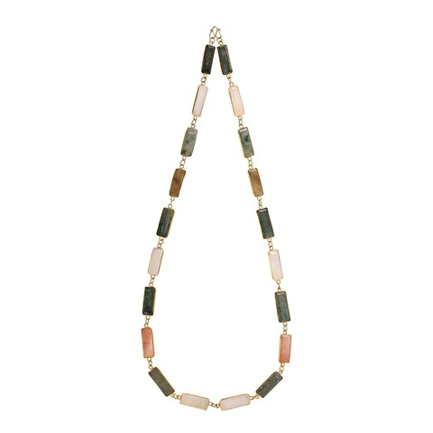 Handmade Natural Rectangular Multi-Colored Gold Vermeil Solid Brass Necklace (Thailand)