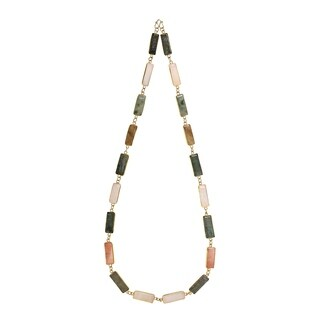 Natural Rectangular Multi-Colored Gold Vermeil Solid Brass Necklace