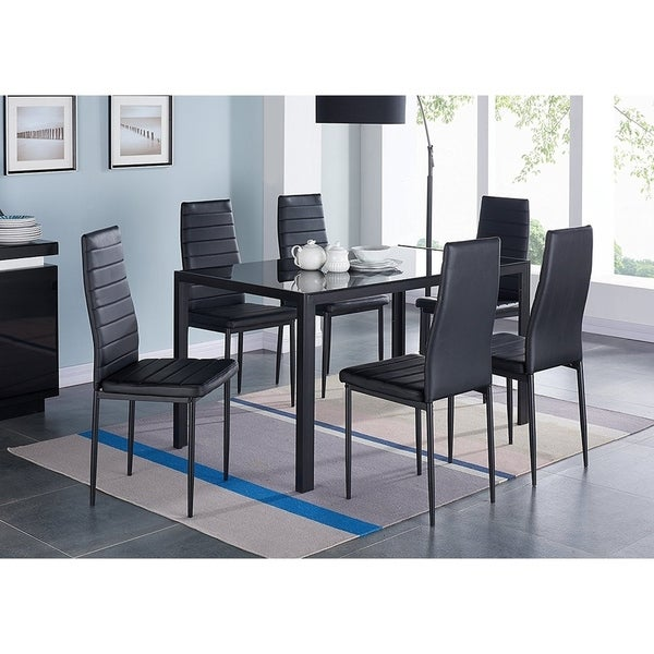 IDS Home 7 Pieces Modern Glass Dining Table Set Faux Leather With 6 ...