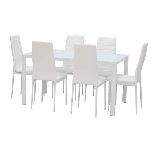 Brilliant Shop Ids Home 7 Pieces Modern Glass Dining Table Set Faxu Pdpeps Interior Chair Design Pdpepsorg