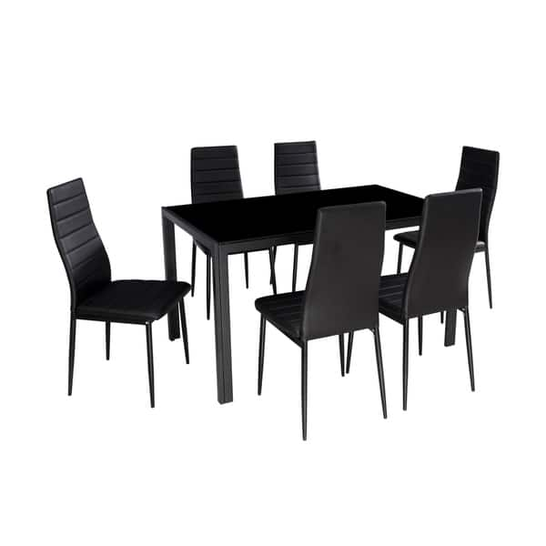 Shop IDS Home 7 Pieces Modern Glass Dining Table Set Faxu ...