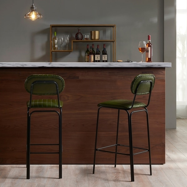 "Versanora - Industriale 29"" Bar Stool - Olive Green/Black"