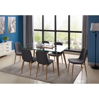 IDS Home 7 PCS Glass Metal Structure Leg with Wooden Skin Rectangular Dining Table Set with Foot Pad, Gray