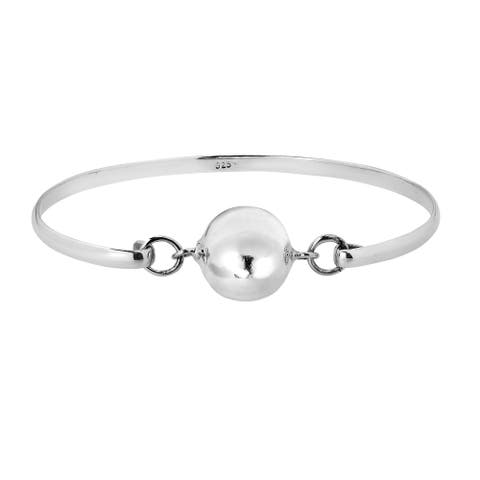 Handmade Sleek Shiny Ball Sphere Modern Sterling Silver Bracelet (Thailand)