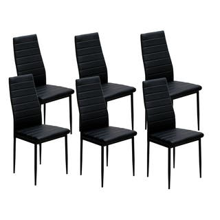 ids home black dining chairs with cushion high back support set of 6 - Black Dining Room Chairs