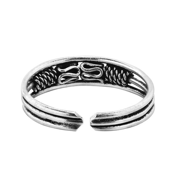 Sterling Silver Twisted Wave Cubic Zirconia Toe Ring Body Art Adjustable