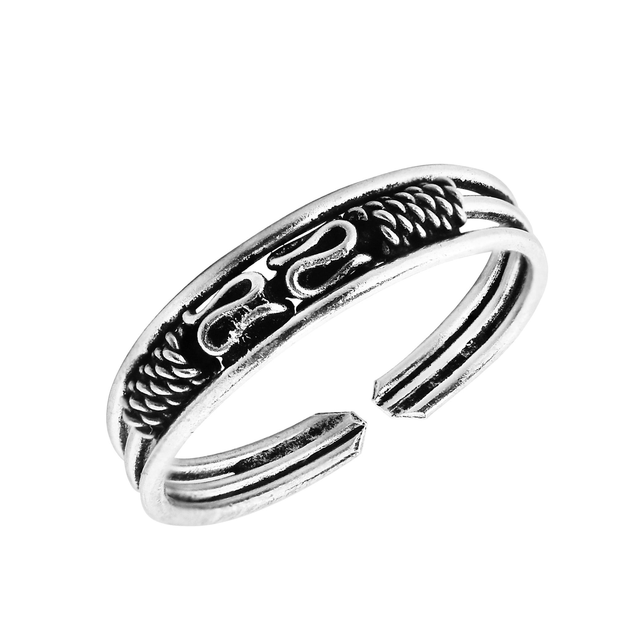 Twist with 4mm Balls Toe Ring 925 Sterling Silver