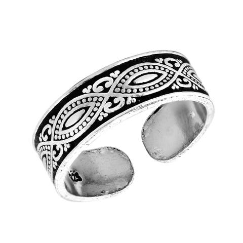 Decorative Balinese Marquise Design Sterling Silver Toe or Pinky Ring
