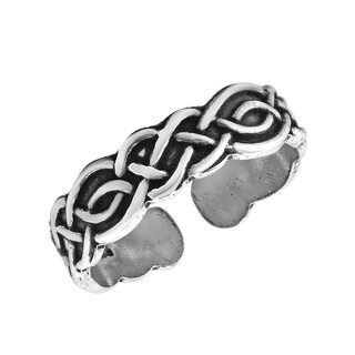 Eternal Celtic Knot Design Sterling Silver Adjustable Toe Pinky Ring