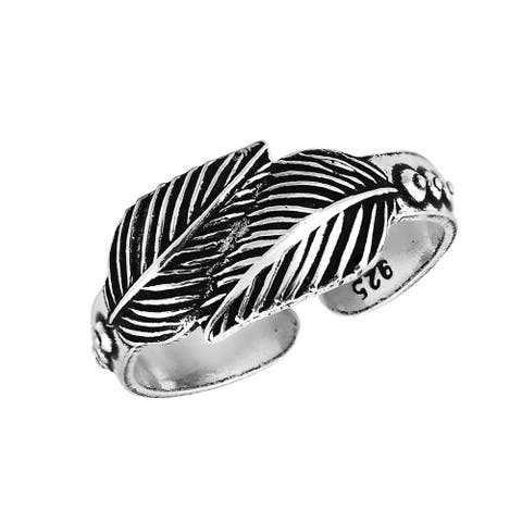 Loving Nature Double Leaf or Feather Wrap Sterling Silver Toe Ring