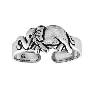 Happy Elephant Sterling Silver Adjustable Toe or Pinky Ring (Thailand)