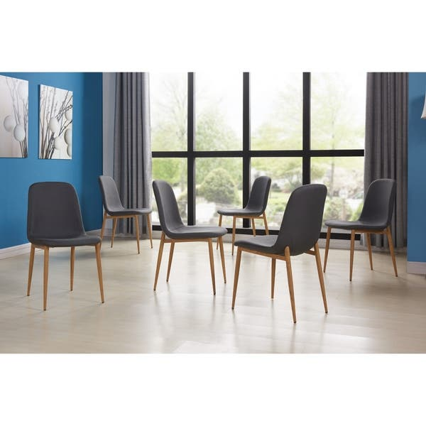 Swell Ids Home 6Pcs Dining Chair Set Metal Leg With Wooden Skin 79 X 105 Andrewgaddart Wooden Chair Designs For Living Room Andrewgaddartcom