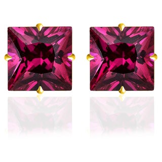 14k Solid White OR Yellow Gold Princess-Cut CZ Stud Earrings by Orchid Jewelry (More options available)