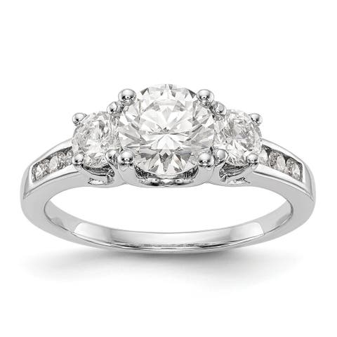 Moissanite 14K White Gold Three Stone with Side Stones 1.50ct. Ring by Versil