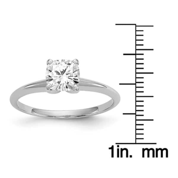 Versil 14 Karat White Gold 1 3 Carat 6 5 Mm Cushion Pure Light Moissanite Solitaire Ring