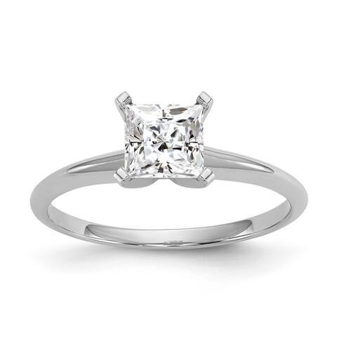 Versil 14 Karat White Gold 1.5 Carat 6.5 mm Princess Pure Light Moissanite Solitaire Ring