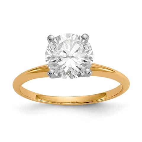 Versil 14 Karat Yellow Gold 2.0 Carat 8.0 mm Pure Light Moissanite Solitaire Ring