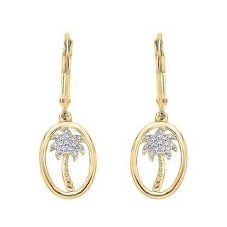 10k Yellow Gold 1/10ct TDW Diamonds Palm Tree Drop Earrings (J-K, I1-I2)