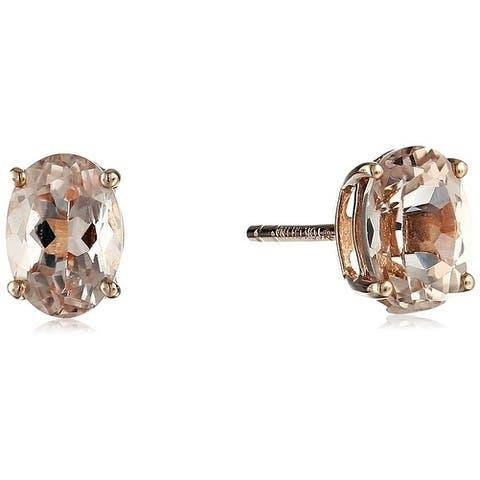 10KT Rose Gold 1.29ctw Morganite Studs Earrings - Peach