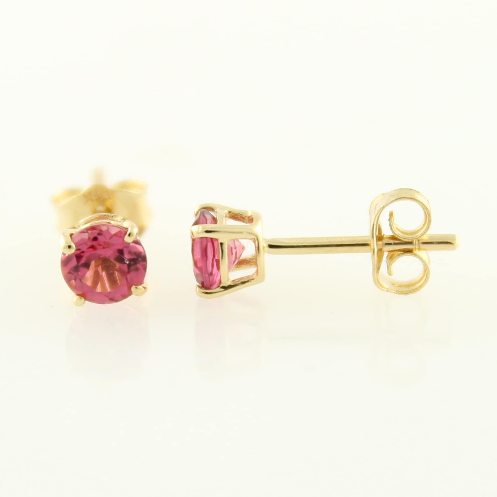 Pinctore 10k Yellow Gold Genuine Pink Tourmaline Topaz 4mm Round Stud Earrings