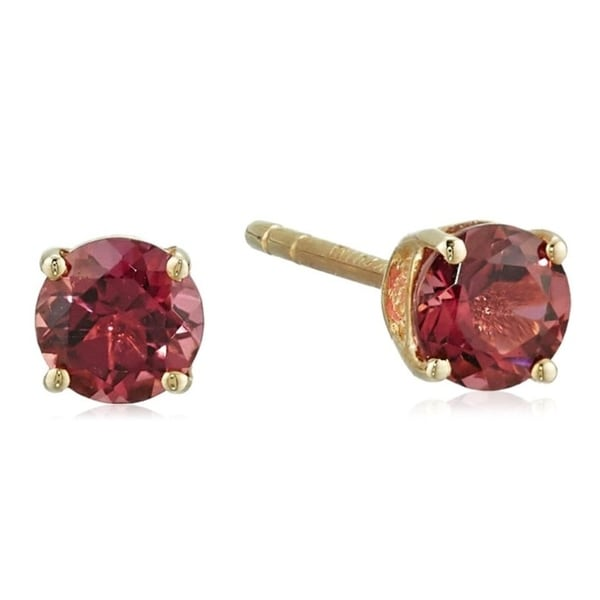 10k Yellow Gold Genuine Pink Tourmaline Topaz 4mm Round Stud Earrings