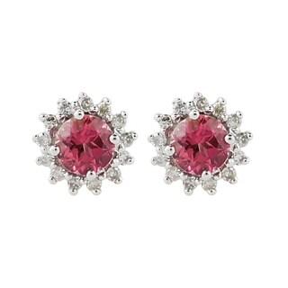 10KT White Gold 0.90ctw Pink Tourmaline & 0.23ct Diamond Stud Earrings