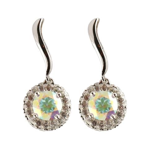 """Pinctore Sterling Silver 4.18ctw Opal Topaz Halo Drop Earrings, 1""""L - White"""