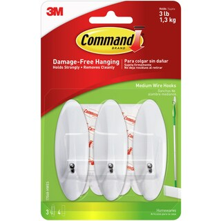 Command Medium Wire Hooks 3/Pkg