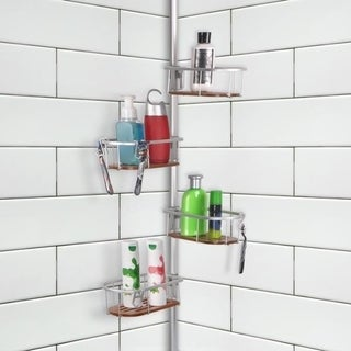 Tia Rustproof Corner Tension Shower Caddy, Teak Shelves