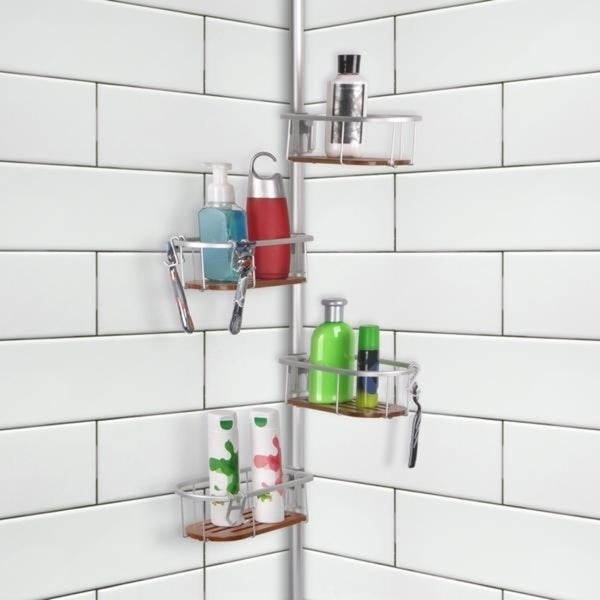Shop Tia Rustproof Corner Tension Shower Caddy, Teak Shelves - Free ...