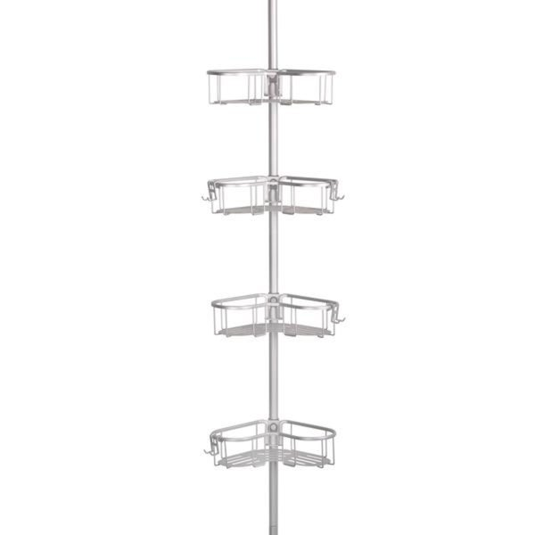 Flat Shelf Rustproof Shower Caddy, Satin Chrome, Corner Pole Caddy ...