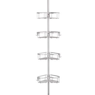 Flat Shelf Rustproof Shower Caddy, Satin Chrome, Corner Pole Caddy
