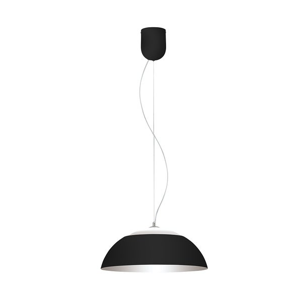 Eglo Marghera Steel 1-light LED Pendant With Black Outer Finish and Silver Interior Finish