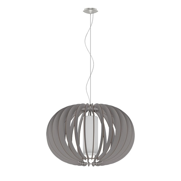 Eglo Stellato Colore Matte Nickel Finish and White Glass Pendant With Grey Wood Shade