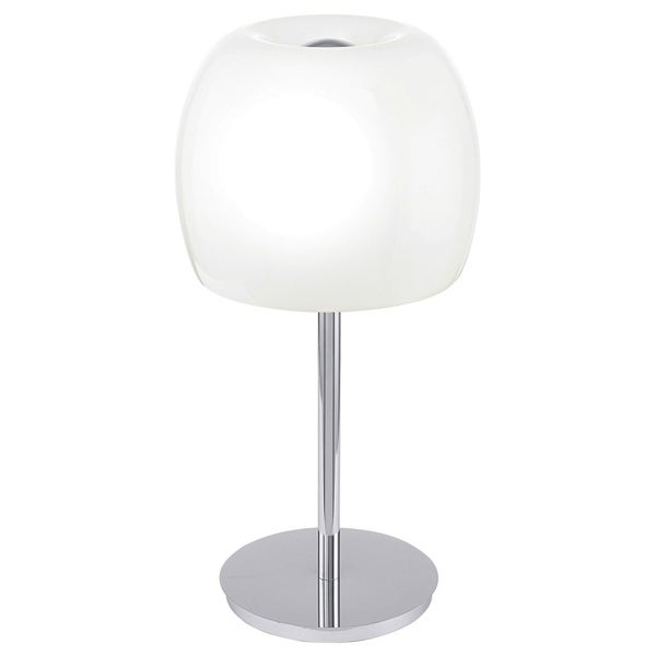 Eglo Dario Table Lamp with Chrome Finish and Glossy White Glass Shade