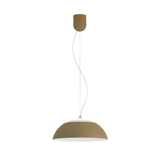 Eglo Marghera 1-Light LED Pendant with Taupe Outer Finish and White Interior Finish