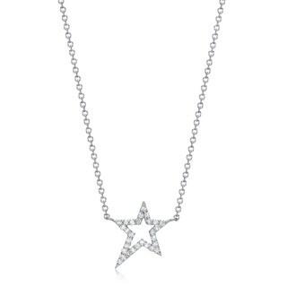 14k White Gold 1/6ct TDW Diamond Star Pendant