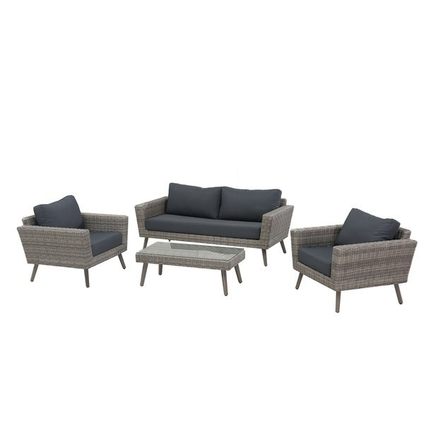 mid century two tone wicker 4 piece outdoor patio set rh overstock com 5 Piece Outdoor Patio Set Spring Chair Patio Furniture