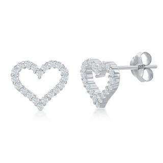 La Preciosa Sterling Silver, Rose Gold or Gold Plated Open Heart Cubic Zirconia Stud Earrings