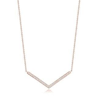 14k Rose Gold 1/3ct TDW Diamond Chevron Necklace