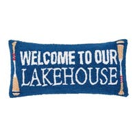 Welcome To Lakehouse Hooked 12x24 Throw Pillow