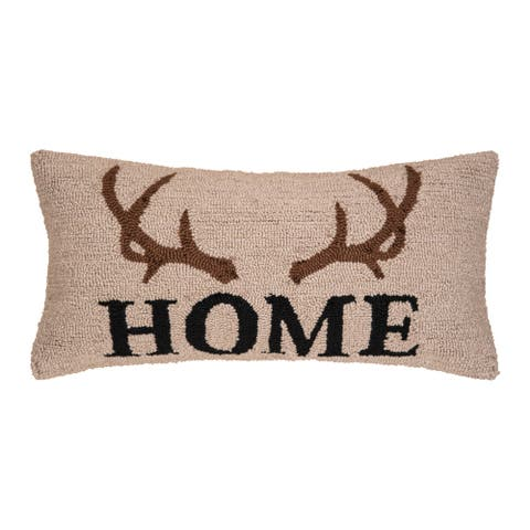 Antler Lodge Hooked 12x24 Throw Decorative Accent Throw Pillow