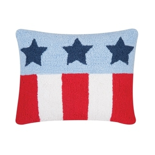 Stars and Stripes Hooked 14x18 Throw Pillow