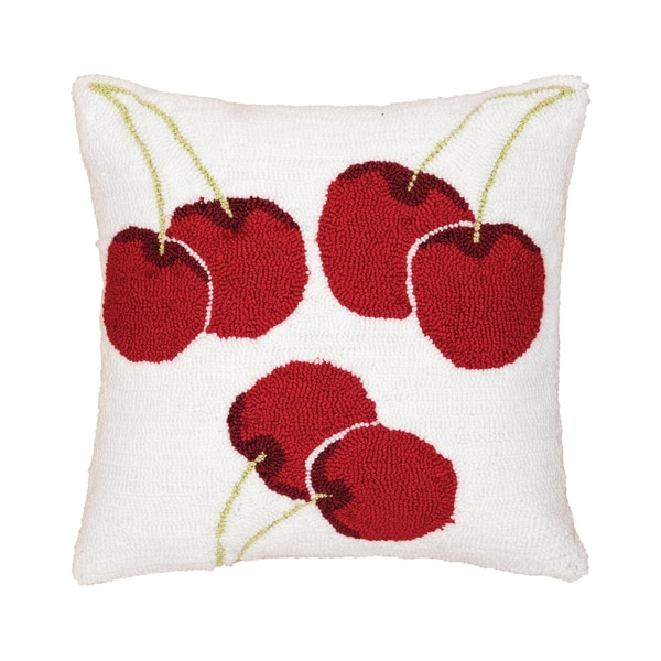 Cherry Hooked 16 Inch Throw Pillow