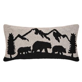 Black Bear Mountain Hooked 12x24 Throw Pillow