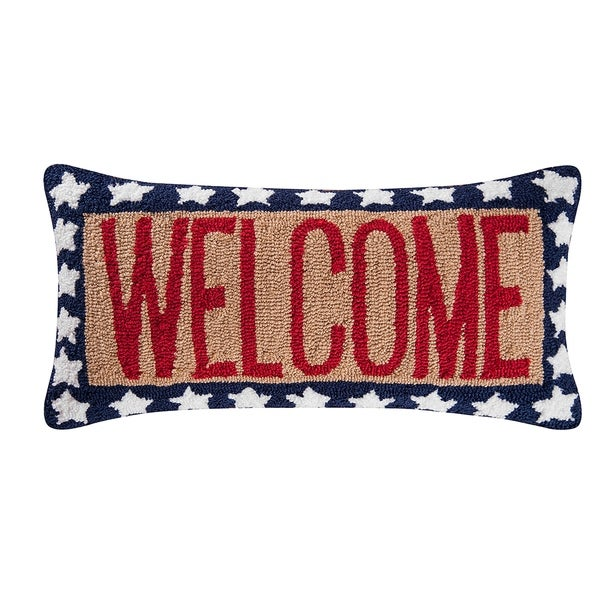 Welcome Red White & Blue Hooked 12x24 Throw Pillow
