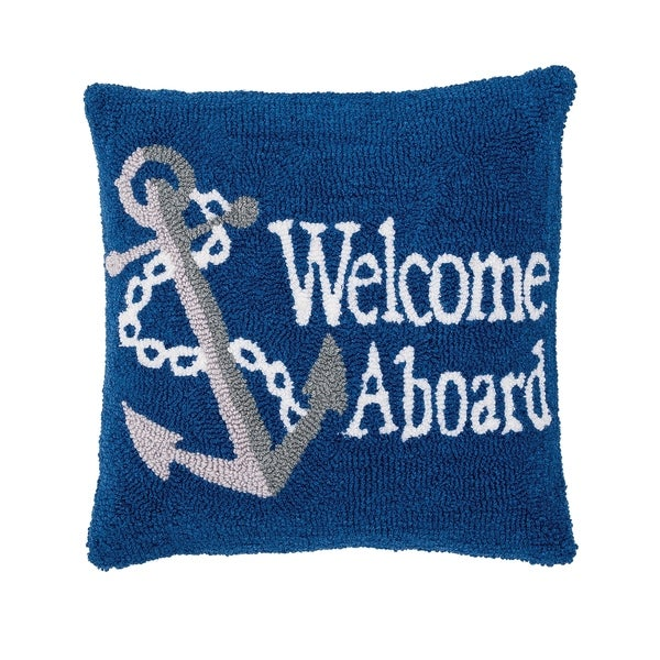 Welcome Aboard Hooked 18 Inch Throw Pillow
