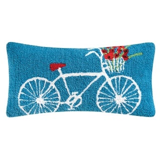 White Bike Hooked 12x24 Throw Pillow