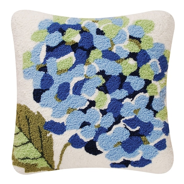 Blue Hydrangea Hooked 18 Inch Throw Pillow